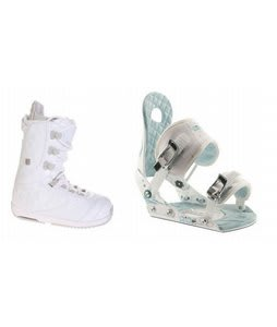 Burton Sapphire Snowboard Boot White/Lt Grey Ride LXH Bindings White/Blue