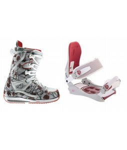Burton Sapphire Snowboard Boots w/ Technine JV Bindings Off White/Red