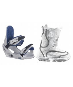 Burton Emerald Smalls Snowboard Boots White/Grey w/ Burton Freestyle Jr Bindings Lt Grey