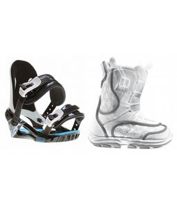 Burton Emerald Smalls Snowboard Boots White/Grey w/ Morrow Axiom Bindings Black