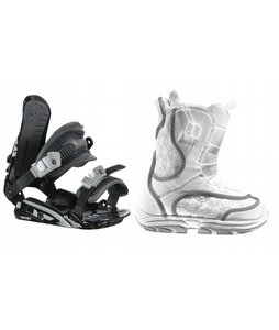 Burton Emerald Smalls Snowboard Boots White/Grey w/ Rossignol HC500 Bindings Black/Silver