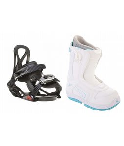 Burton Emerald Smalls Snowboard Boots White/Light Blue w/ Sapient Prodigy Bindings Black
