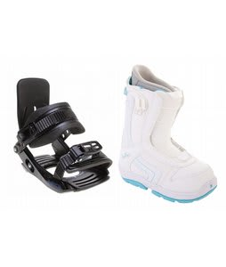 Burton Emerald Smalls Snowboard Boots White/Light Blue w/ Salomon Team Bindings Black