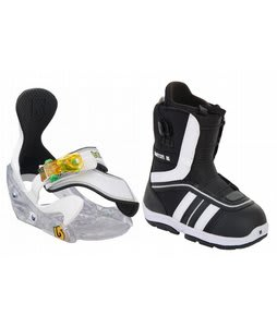 Burton Ruler Smalls Snowboard Boots Black/White w/ Burton Grom Bindings White