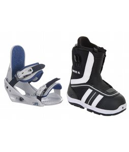 Burton Ruler Smalls Snowboard Boots Black/White w/ Burton Freestyle Jr Bindings Lt Grey