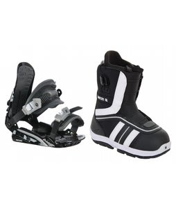 Burton Ruler Smalls Snowboard Boots Black/White w/ Rossignol HC500 Bindings Black/Silver