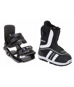 Burton Ruler Smalls Snowboard Boots Black/White w/ Salomon Team Bindings Black