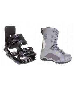 Lamar Force Snowboard Boots Charcoal w/ Salomon Team Bindings Black