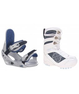 Lamar Justice Snowboard Boots White w/ Burton Freestyle Jr Bindings Lt Grey