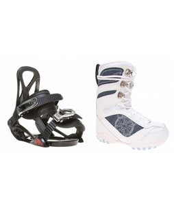 Lamar Justice Snowboard Boots White w/ Sapient Prodigy Bindings Black