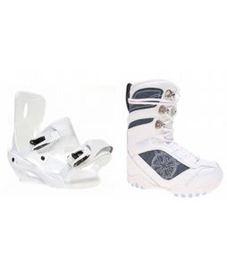 Lamar Justice Snowboard Boots White w/ Sapient Zeus Bindings White