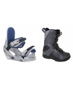 LTD Classic Snowboard Boots Grey/Black w/ Burton Freestyle Jr Bindings Lt Grey