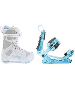 M3 White Snowboard Boots w/ K2 Cinch Tryst Bindings