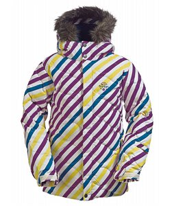 Burton Allure Puffy Snowboard Jacket Diag Stripe Banana