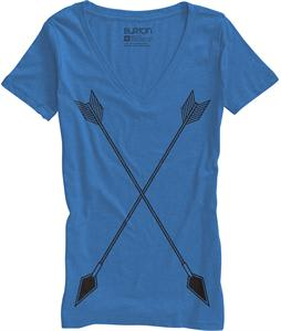 Burton Archer Recycled V-Neck T-Shirt Heather Cobalt Blue