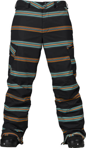 Burton Cargo Snowboard Pant True Black Bandwidth Stripe Print
