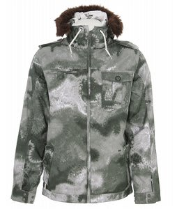 Burton Captain Tripps Snowboard Jacket Beetle Green Tie Dye Camo Print