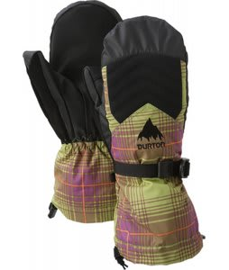 Burton Gore Tex Mittens Pea Green Blur Plaid