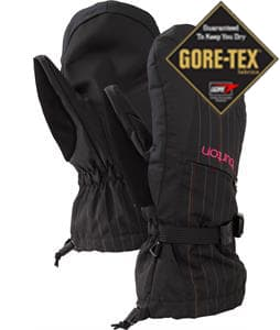 Burton Gore-Tex Mittens True Black Gamine Pinstripe