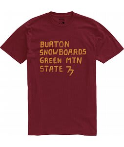 Burton Green Mountain State Over Dyed Heather T-Shirt Crimson