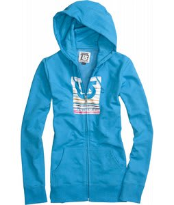 Burton Her Logo Fill Palette Stripes Basic Fullzip Hoodie Heather Blue-Ray