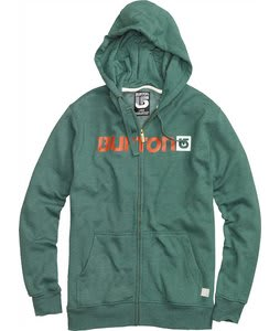Burton Logo Horizontal Fullzip Hoodie Heather Pine Crest