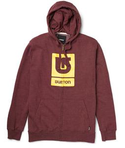 Burton Logo Vertical Full Zip Hoodie Heather Crimson