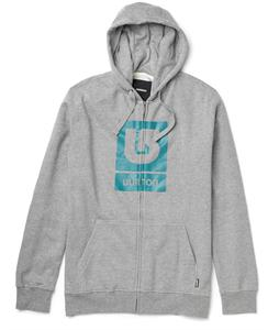 Burton Logo Vertical Full Zip Hoodie Heather Grey