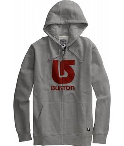 Burton Logo Vertical Fullzip Hoodie Heather Grey