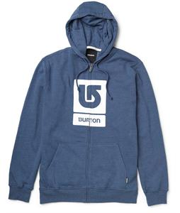 Burton Logo Vertical Full Zip Hoodie Heather Team Blue