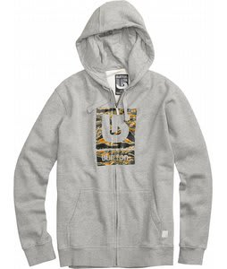 Burton Logo Fill Fullzip Hoodie Heather Grey