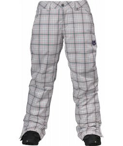 Burton Society Snowboard Pants Bright White Line Plaid Print