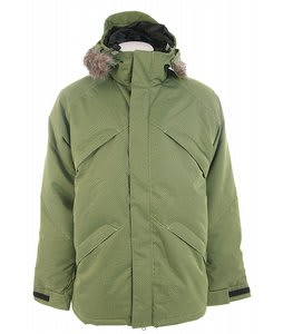 Burton Strapped Down Snowboard Jacket Gator Green Brain Damage Jaquard