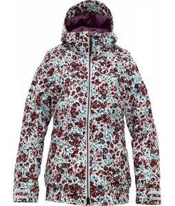 Burton TWC Hot Tottie Snowboard Jacket Bright White Floral Melt Print