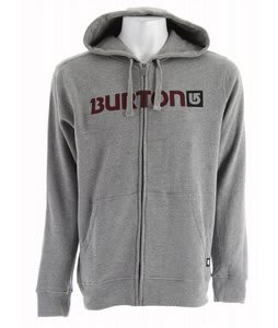 Burton Logo Horizontal Fullzip Hoodie Heather Grey