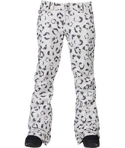 Burton TWC Miss Wilds Snowboard Pants Stout White Snow Leopard Print
