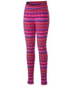 Columbia Glacial Baselayer Pants Dark Raspberry Fairisle Print