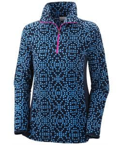Columbia Glacial III Print 1/2 Zip Baselayer Top Harbor Blue Snowscatter Print/Collegiate Navy/Groovy Pink Zip