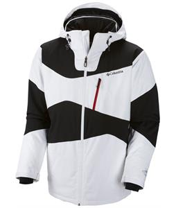Columbia Parallel Grid Ski Jacket White/Black/Rocket Pocket Zip/White Front Zip