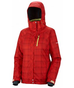 Columbia Whirlibird Interchange Ski Jacket Bright Red Printed Plaid/Sea Salt