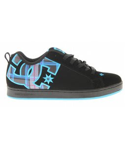 DC Court Graffik SE Skate Shoes Black/Turquoise Plaid