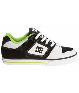 DC Pure Skate Shoes Black/White/Soft Lime