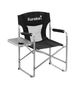 Eureka Directors Chair w/ Side Table Camp Chair Black/Silver