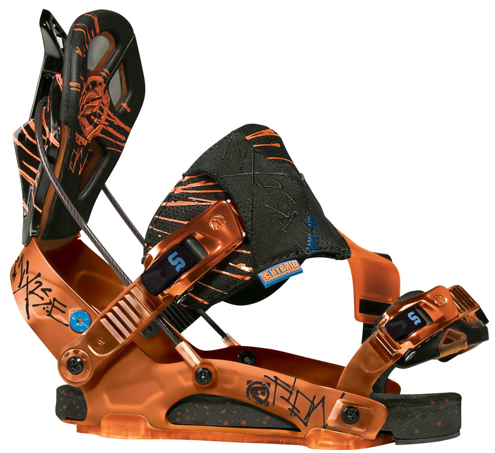 Flow NX2-SE Snowboard Bindings Black/Orange Mens Sz M (4-8