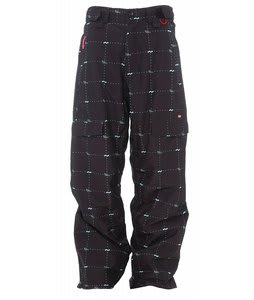 Foursquare Zino Snowboard Pants Black Logo Grid
