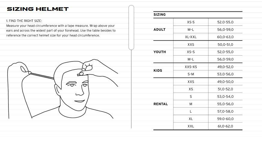 Head Size Chart