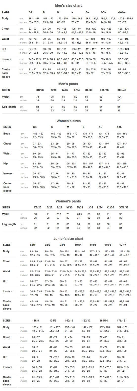 Helly Hansen Size Chart
