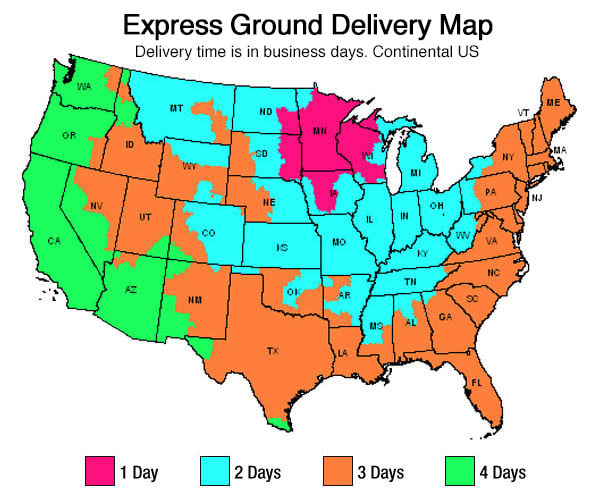 Express Ground Shipping Map