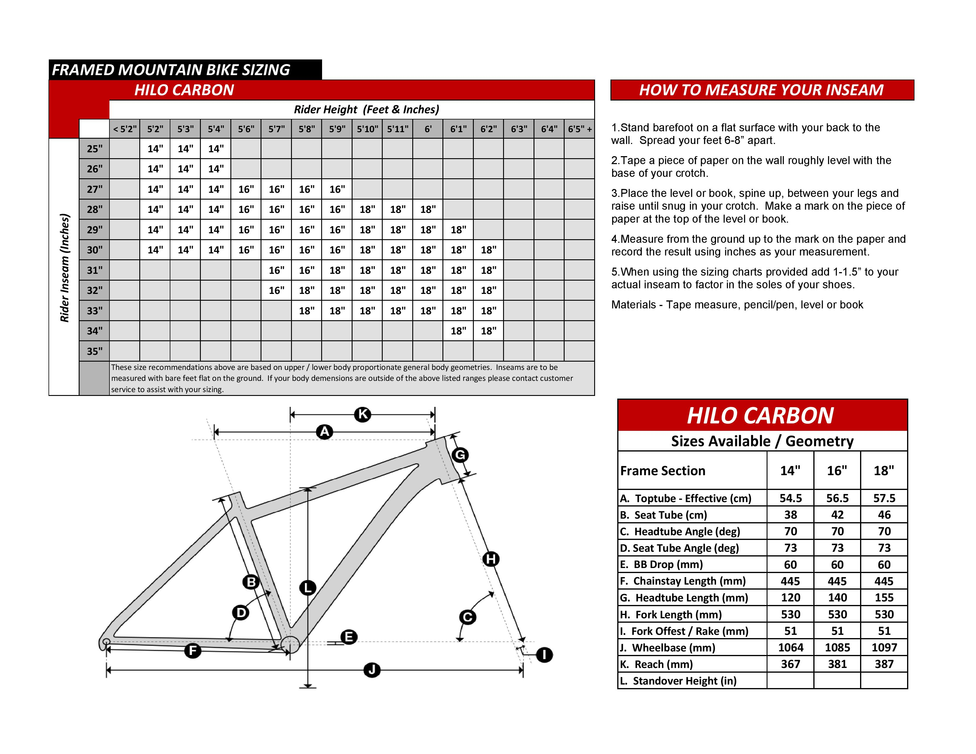 Hilo Carbon Bike Geometry Specs