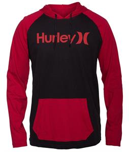 Hurley One & Only Jersey Hooded L/S Raglan Black/Valiant Red